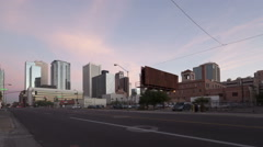 Time lapse traffic Phoenix downtown at dusk Stock Footage