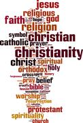 christianity word cloud - stock illustration