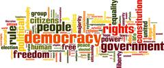 democracy word cloud - stock illustration