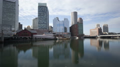 Stock Video Footage of 4K Time lapse tilt shot Boston waterfront