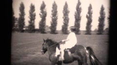 1934 kids on estate and pony, small girl and cowboy Stock Footage
