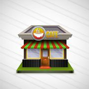 Building cafe open storefronts and bright awning - stock illustration