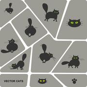 Set of domestic cats in different poses - stock illustration