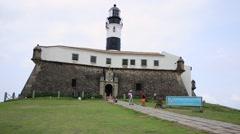 Barra Lighthouse (Farol da Barra) in Salvador, Brazil. Stock Footage
