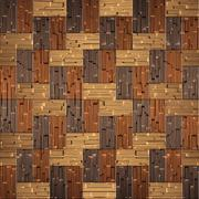 Wooden rectangular parquet stacked for seamless background. bronze tint - stock illustration