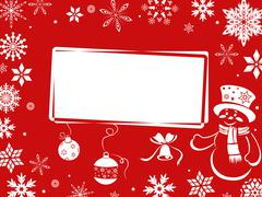 christmas greeting card in red shades - stock illustration