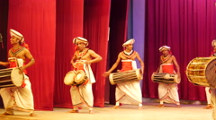 The drum orchestra Kandyan Dancers Sri Lanka Stock Footage