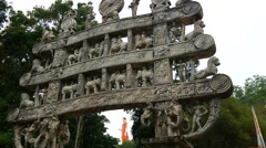 Entrance Ranawana Temple with the the world's tallest walking  Buddha Stock Footage