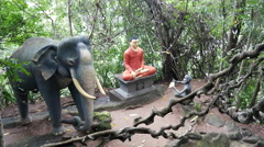 Sitting buddha and a elephant statue on the Ranawana Temple Stock Footage