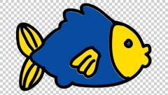Fish line drawing illustration animation with transparent background Stock Footage