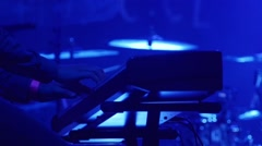 Pianist plying on electronic piano at open air rock festival - stock footage