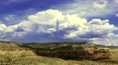 View of New Mexico desert from Chimney Rock, Ghost Ranch Stock Footage