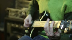 Man playing the electric guitar riff Stock Footage