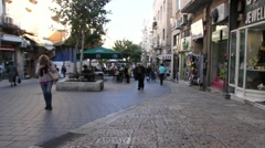 Stock Video Footage of Visitors in Ben Yehuda Street. Jerusalem. Israel - time lapse 1