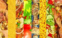 Different meat and vegetable image collage.food background. Stock Photos