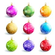 Set of beautiful colorful christmas balls isolated Stock Illustration