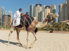 A man riding a camel on the beach Stock Photos