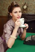 Woman in 50s style - stock photo