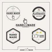 Set of vector emblems for marking handicrafts - stock illustration