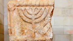 Image Menorah on the limestone bloke. 6 century AD. Rockefeller Archaeological M Stock Footage