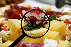 cheese and nutrition facts - stock illustration