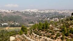 Jerusalem landscape from  Ein Kerem hill.  Israel Stock Footage