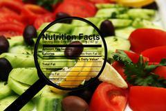 Stock Illustration of nutrition facts on fresh salad