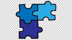 Puzzle 4 animation with transparent background Stock Footage