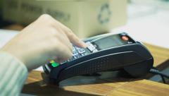 Contactless payment - seller type price Stock Footage