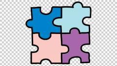 puzzle 6 animation with transparent background - stock footage