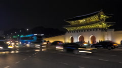 Seoul, South Korea - Night Traffic in Front of Gwanghwamun Stock Footage