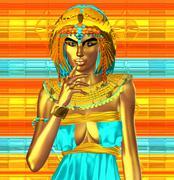 Gold metallic skin, mythical Egyptian queen Stock Illustration