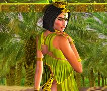 Alluring Egyptian Woman Posing in front of Palm Trees. - stock illustration