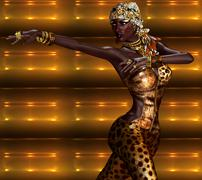 African American Woman in Leopard Print Fashion Stock Illustration