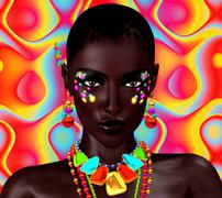 Beautiful Black Woman on Colorful Background. - stock illustration