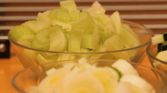 Bowls with different foods in a domestic kitchen. - stock footage