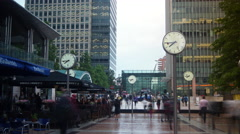 Time Lapse People going about there business Canary Wharf Stock Footage