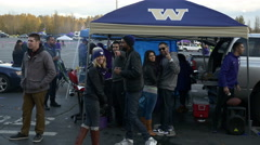 College Football Tailgate Party for a Huskies Game In Seattle Stock Footage