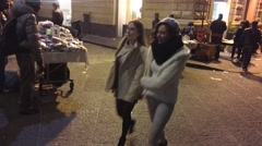 POV HDFH Sidewalk Walking in the Night City of Catania, Sicily, Italy. Stock Footage
