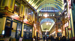 Traffic and pedestrians on Leadenhall Market  in London, time lapse Stock Footage