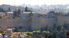 Wall of old city early morning . Jerusalem. Israel Stock Footage