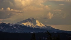 Cloud Formation Above Snow Mountain at Sunset Time Stock Footage
