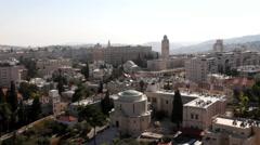 Hotel King David and Jerusalem International YMCA at morning on background Stock Footage