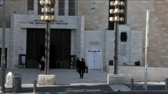 Great Synagogue  on  blue sky background. King George Street. Jerusalem Stock Footage