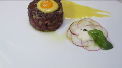 Tenderloin Tartar tempered with garnish and French dressing. Stock Footage