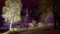 Astra Museum on Easter Night in Sibiu, Romania Stock Footage