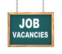 3d hanging banner - job vacancies - stock illustration