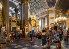 Orthodox christians inside the kazan cathedral Stock Photos