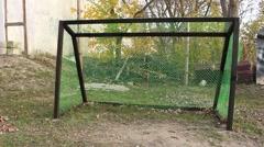 Soccer goal net. Football goal. Stock Footage