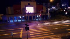 Pedestrian crossing at night time lapse Stock Footage